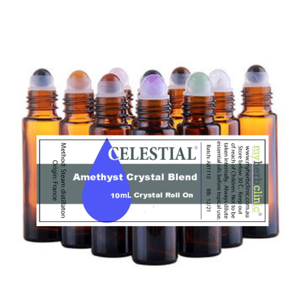 AMETHYST CRYSTAL ESSENTIAL OIL BLEND ROLL ON - ALL NATURAL BOTANICAL PERFUME