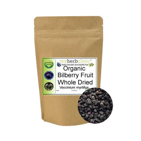 MY HERB CLINIC ® BILBERRY BERRIES DRIED ORGANIC BLOOD PRESSURE BLUEBERRY