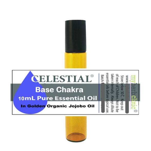 CELESTIAL ® BASE CHAKRA THERAPEUTIC GRADE ESSENTIAL OIL ROLL ON 10ml - I EXIST - GROUNDING & BALANCE MEDITATION