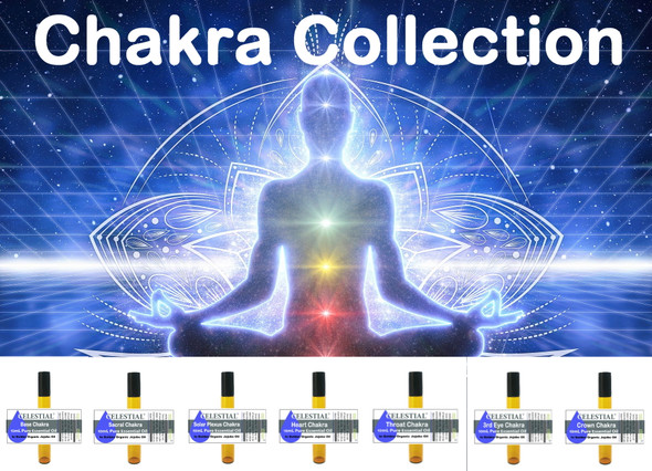 CELESTIAL |  CHAKRA COLLECTION 7 X THERAPEUTIC GRADE ESSENTIAL OIL ROLL ON 10ml  CHAKRA OILS