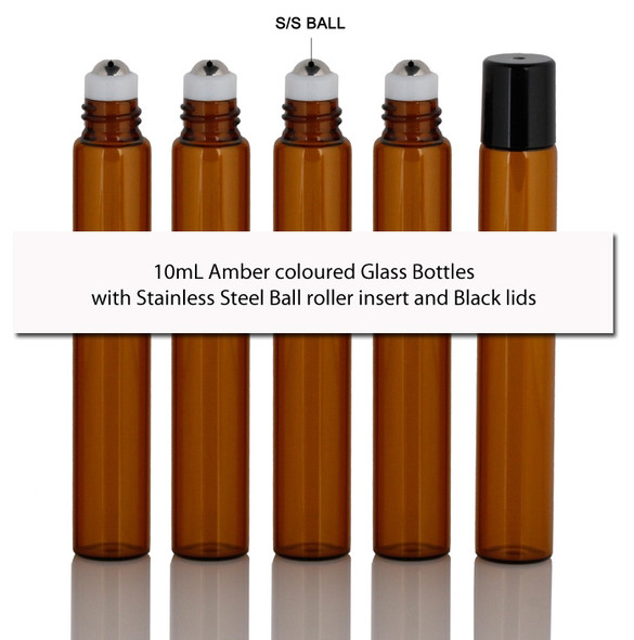 5 x 10mL Amber coloured Glass Bottles with Stainless Steel Ball roller insert and Black lids