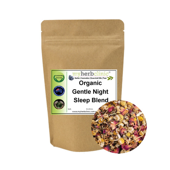 MY HERB CLINIC ® GENTLE NIGHT ROOIBOS ORGANIC PREMIUM TEA BLEND - HEALTHY CAFFEINE FREE DELICIOUS - sleep well