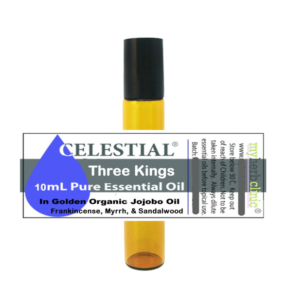 CELESTIAL ® THREE KINGS ROLL ON 10ml ESSENTIAL OIL - FRANKINCENSE MYRRH SANDALWOOD