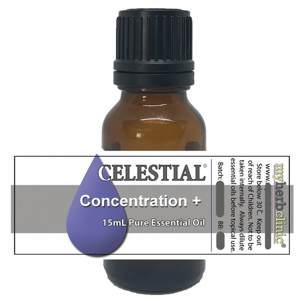 CELESTIAL ® CONCENTRATION + AROMATHERAPY ESSENTIAL OIL BLEND FOCUS STUDY