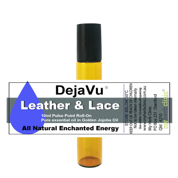 DEJAVU ® LEATHER & LACE THERAPEUTIC GRADE ESSENTIAL OIL ROLL ON - ENCHANTED ENERGY