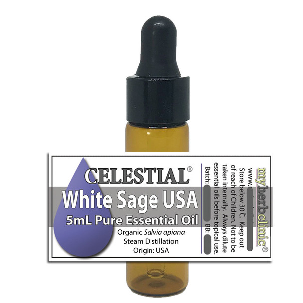 CELESTIAL® WHITE SAGE USA ORGANIC ESSENTIAL OIL ~ CLEARING SMUDGING BANISHING PURIFY