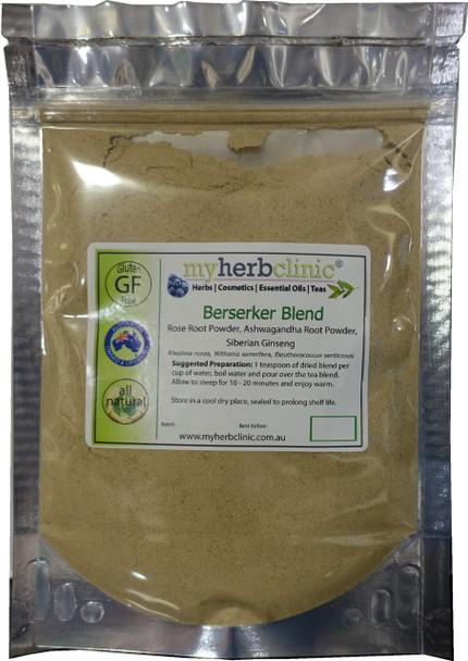 BERSERKER BLEND POWDER Organic Rhodiola Rosea Ashwagandha Siberian Ginseng TRAIN