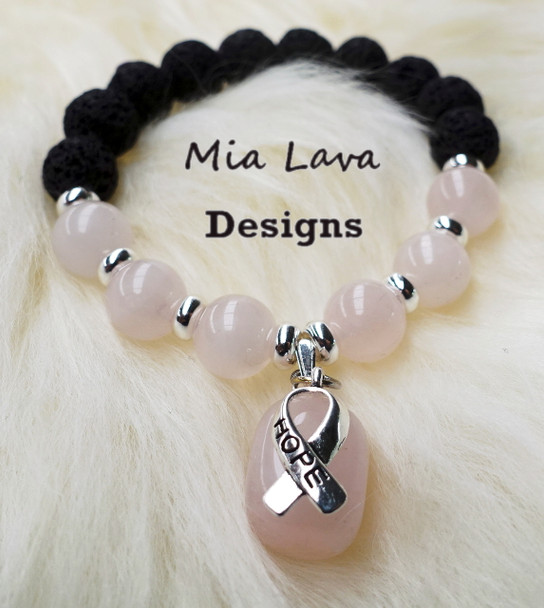 AROMATHERAPY DIFFUSER BRACELET POWER OF HOPE - BREAST CANCER AWARENESS