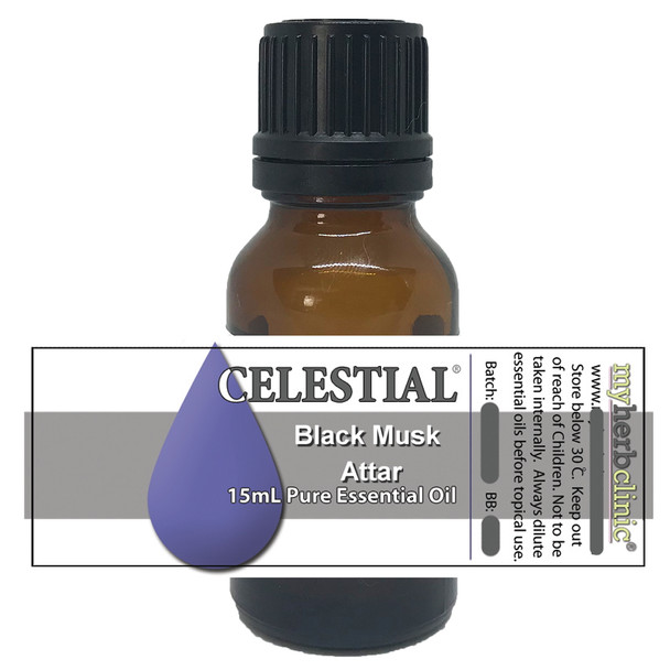 CELESTIAL ® BLACK MUSK ATTAR THERAPEUTIC GRADE 100% ESSENTIAL OIL - UPLIFTS MOOD