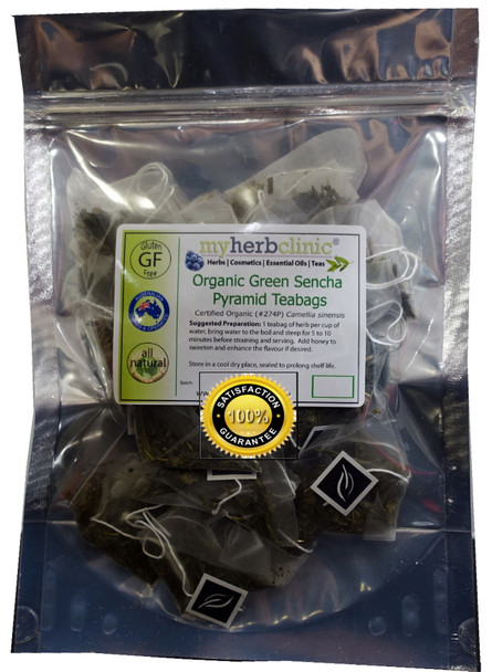 MY HERB CLINIC ® ORGANIC JAPANESE SENCHA GREEN TEA PYRAMID T-BAGS BEST QUALITY