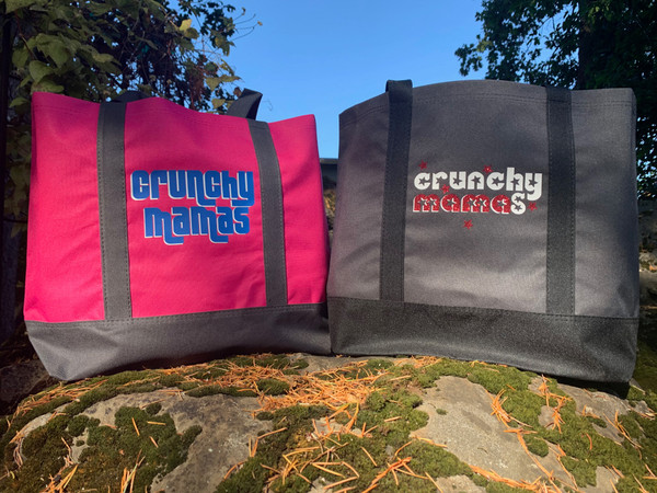 High quality and sturdy canvas tote bag emblazoned with the Crunchy Mamas name.