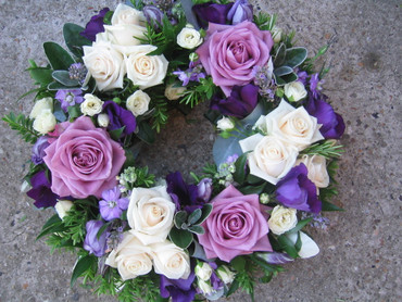 Purple and ivory wreath