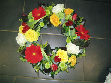 Brightly coloured wreath