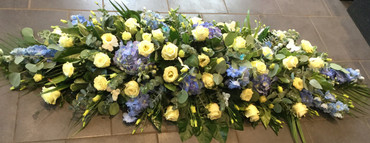 2.Blue and ivory coffin Spray