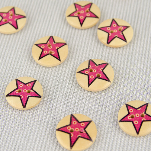 Patchwork Star, Pink:  Wooden Button