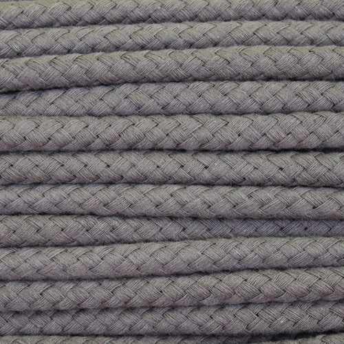 Double Woven Cotton Cord (8 mm):  Dark Grey