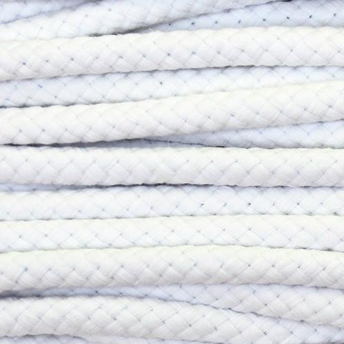 Double Woven Cotton Cord (8 mm):  White