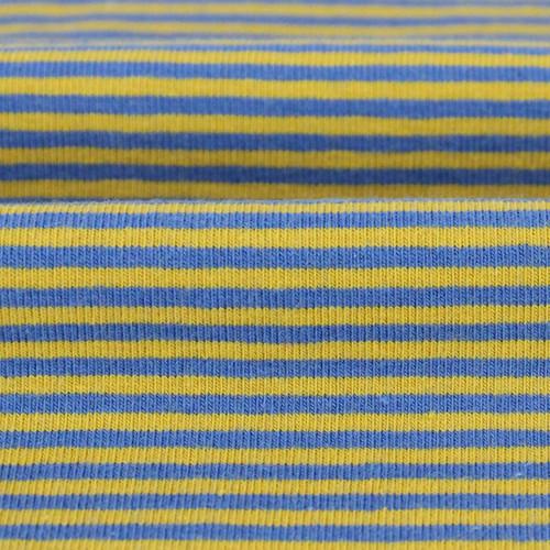 2 mm Yarn Dyed Stripes:  Blue & Ochre