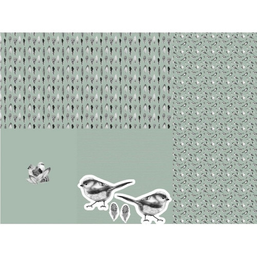 Little Birds, Sage Green: Baby Layette Rapport Jersey Knit, by Stenzo  (approximately 1 meter)