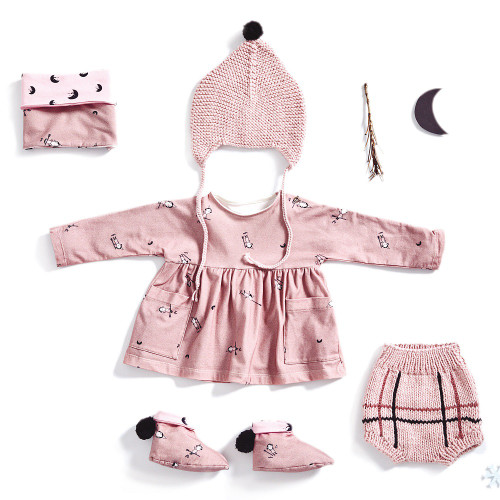 Baby Dress, Neck Warmer, and Booties: Paper Sewing Pattern from Katia