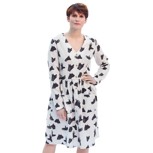 Woman's Poplin Dress: Paper Sewing Pattern from Katia