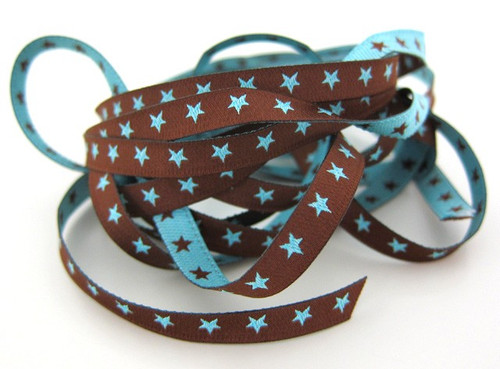 Little Stars: Farbenmix reversible ribbon, Chocolate and blue