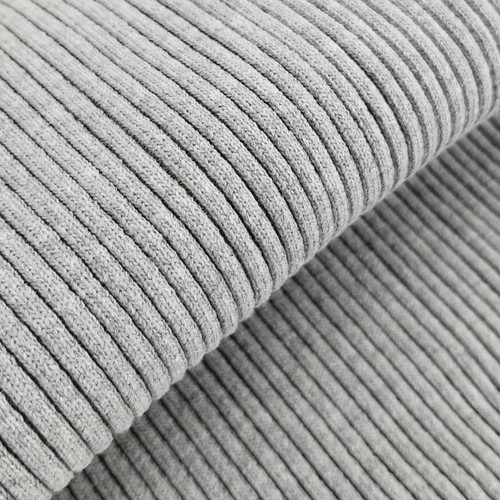 4 x 4 Heavy Ribbing: Heathered Light Grey