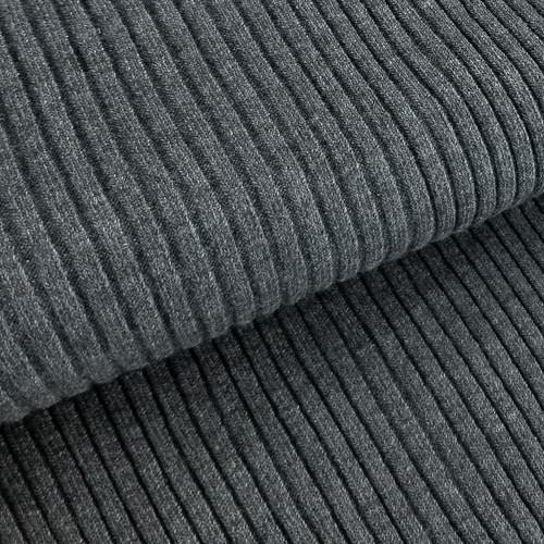 REMNANT: 4 x 4 Heavy Ribbing: Heathered Dark Grey (22 cm)