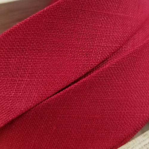Linen Woven Bias Binding: Red
