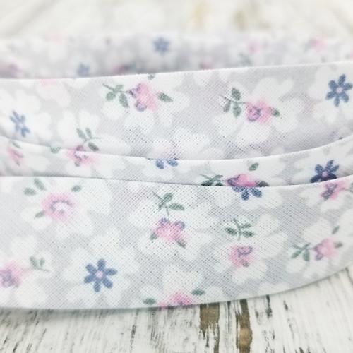 Cotton Woven Bias Binding: Miranda, Grey
