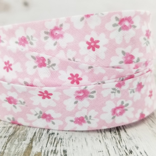 Cotton Woven Bias Binding: Miranda, Pink