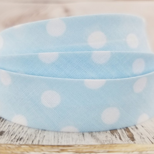 Cotton/Polyester Woven Bias Binding: Dots, Blue