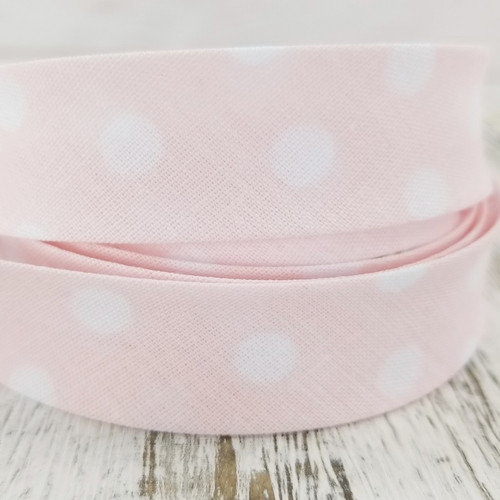 Cotton/Polyester Woven Bias Binding: Dots, Pink