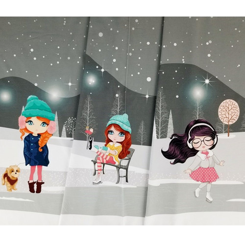 Winter Fun, Grey: Digital Panel French Terry, Stenzo  (approximately 75 cm)