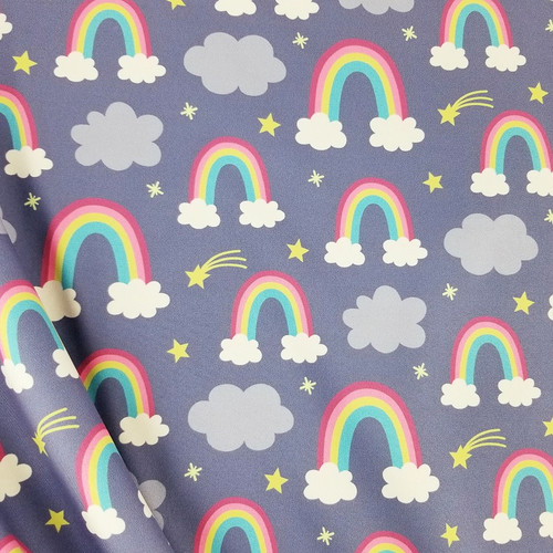 Rainbows and Stars, Purple/Grey:  Softshell