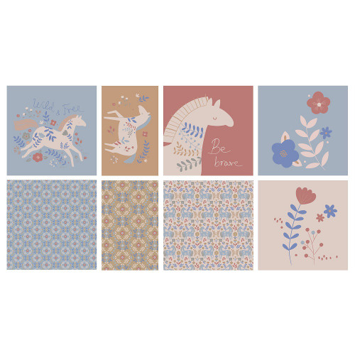 Country Horses (4 Cushions): Cotton Woven Panel by Katia