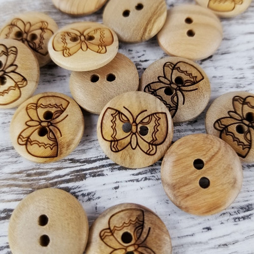 Wooden Button:  Butterfly