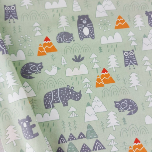 Into The Wilds, Green: Cotton Woven Poplin