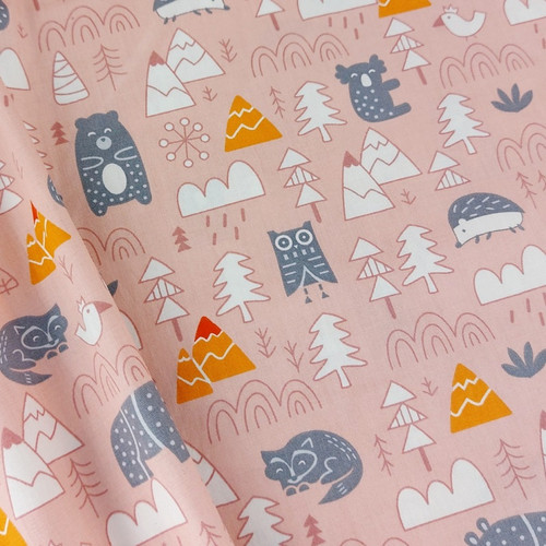 Into The Wilds, Pink: Cotton Woven Poplin