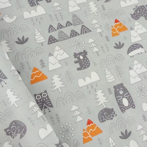 Into The Wilds, Grey: Cotton Woven Poplin