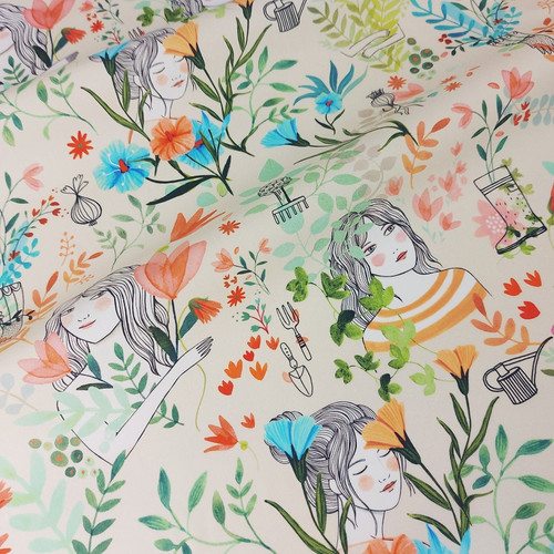 Garden Flowers:  Waterproof Laminated Cotton by Katia