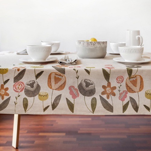 Nordic Floral Tablecloth Panel: Waterproof Cotton Canvas from Katia