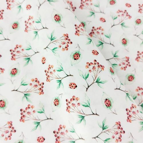 Ladybugs:  Digitally Printed Woven Cotton