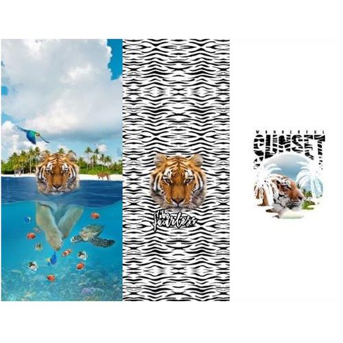 Tiger Wilds, White: Panel Digital Jersey Knit, Stenzo  (approximately 75 cm)