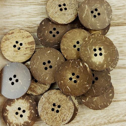 Coconut Circle Button: 25 mm