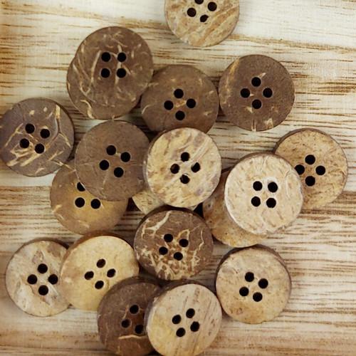 Coconut Circle Button: 15 mm