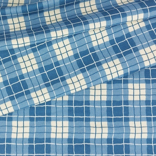 Autumn Plaid, Blue:  French Terry