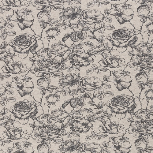 Sketched Roses, Heathered Oatmeal:  Brushed French Terry