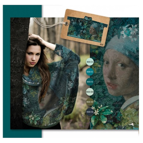 Pearl Earing: Digitally Printed French Terry Poncho, Stenzo  (approximately 200 cm)