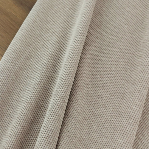 Ribbed Jersey Knit: Heathered Brown